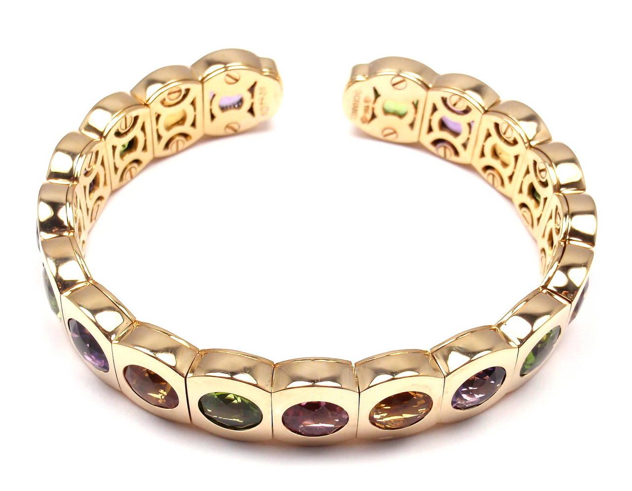 Chanel Multi Color Stone Yellow Gold Cuff Bangle Bracelet 2
