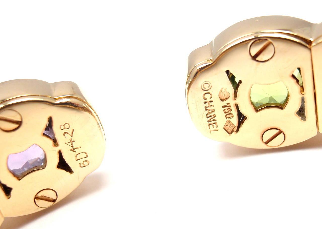 Chanel Multi Color Stone Yellow Gold Cuff Bangle Bracelet 1