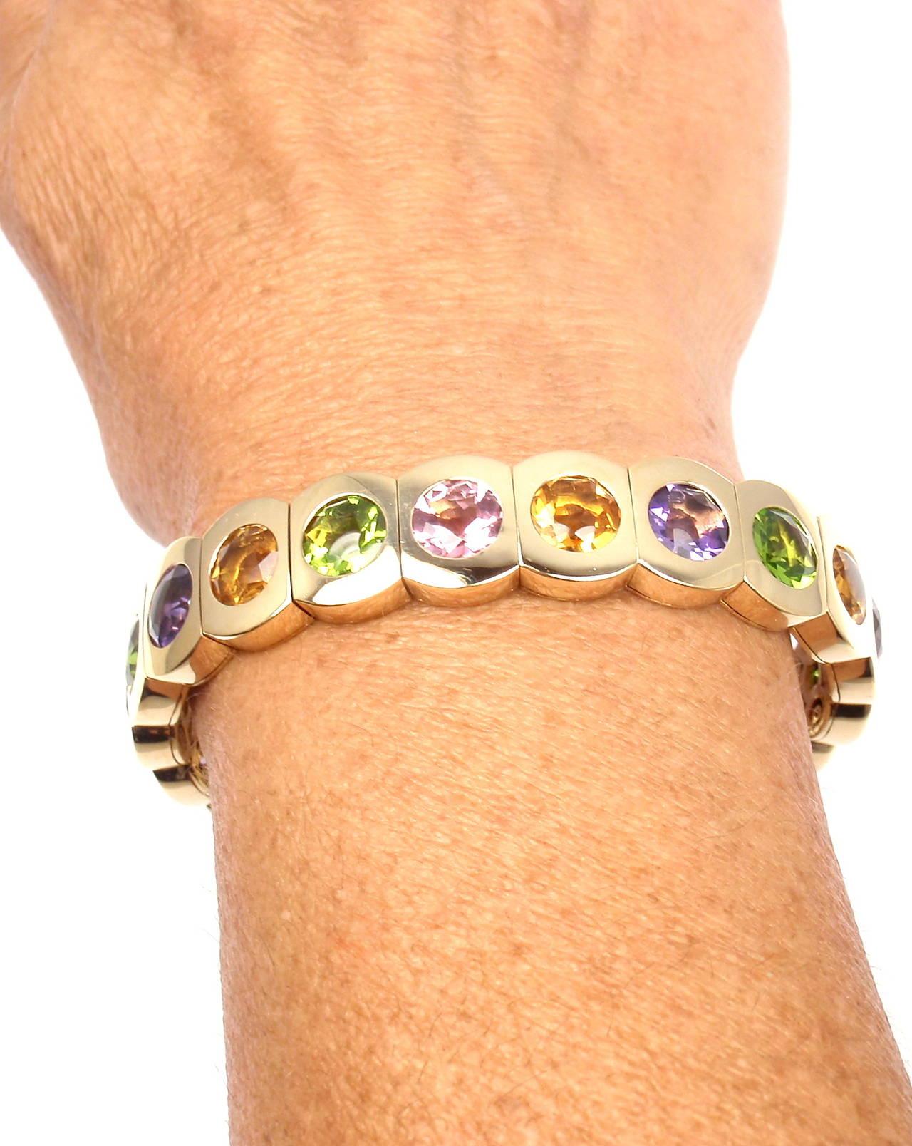 Chanel Multi Color Stone Yellow Gold Cuff Bangle Bracelet 6