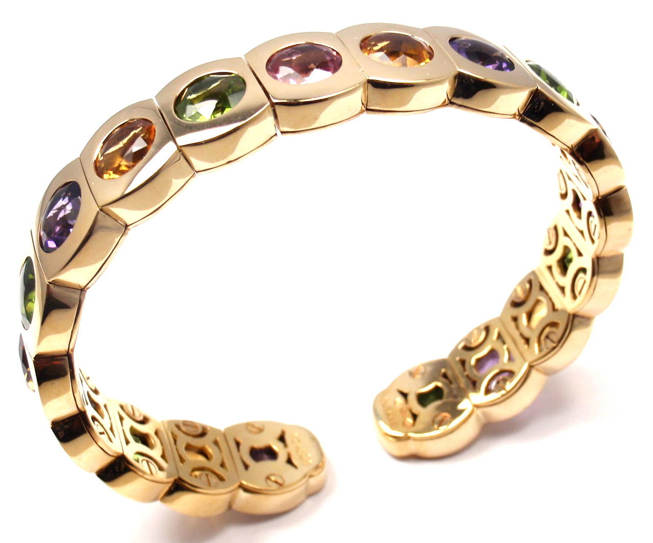 Chanel Multi Color Stone Yellow Gold Cuff Bangle Bracelet 3