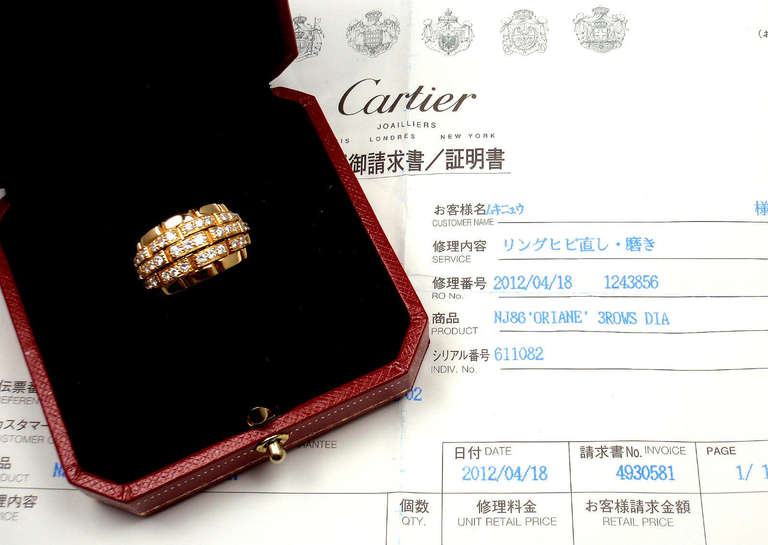 CARTIER Oriane Diamond Yellow Gold Band Ring 10