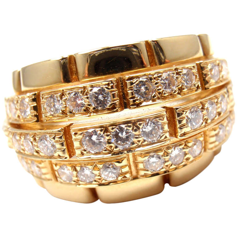 CARTIER Oriane Diamond Yellow Gold Band Ring 1