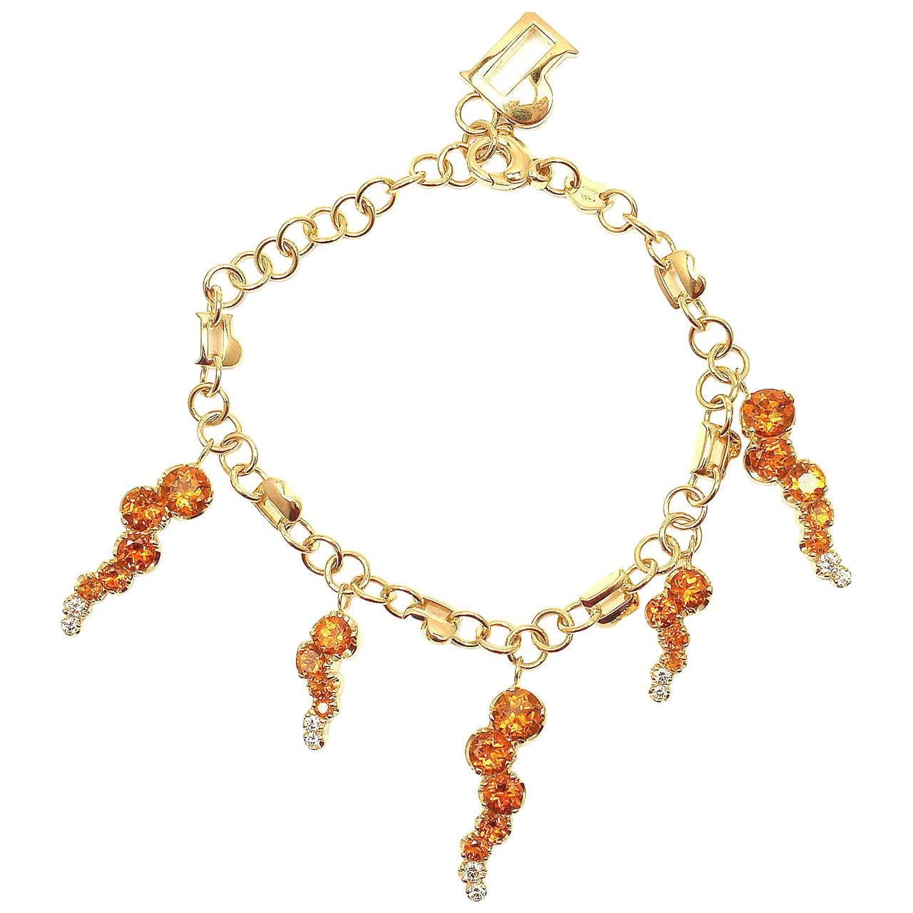 Pasquale Bruni Ray Sun Citrine Diamond Gold Link Bracelet