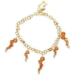 Pasquale Bruni Ray Sun Citrine Diamond Gold Link Bracelet