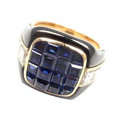 Piaget Enamel Invisible Set Sapphire Diamond Gold Cocktail Ring