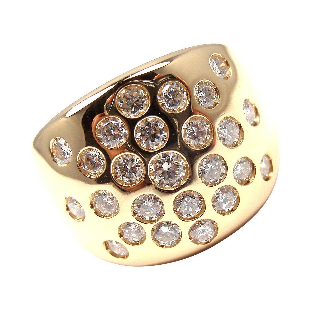 Hermes Diamond Gold Cocktail Ring