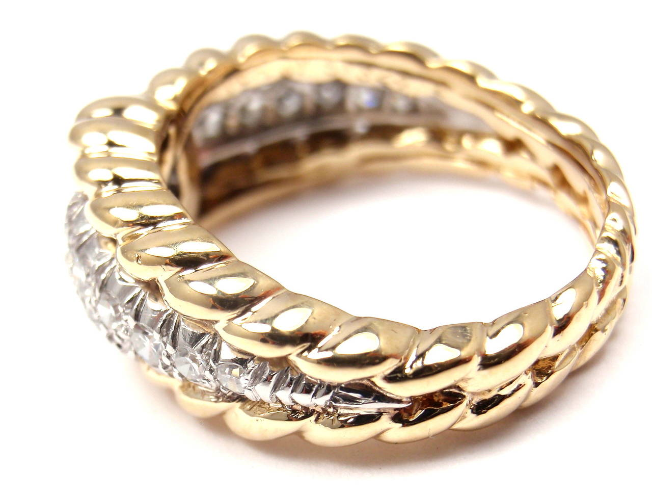 Women's Van Cleef & Arpels Diamond Gold Band Ring For Sale