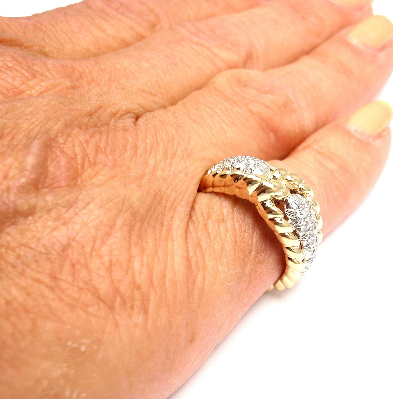 Van Cleef & Arpels Diamond Gold Band Ring For Sale 3