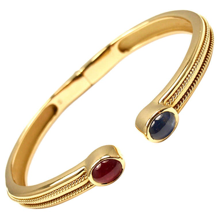 TIFFANY & CO Ruby Sapphire Yellow Gold Bangle Bracelet