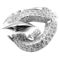 HERMES Twisted Free Form Diamond White Gold Ring