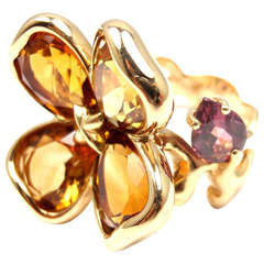 CHANEL CAMELIA Citrine Amethyst Yellow Gold Ring