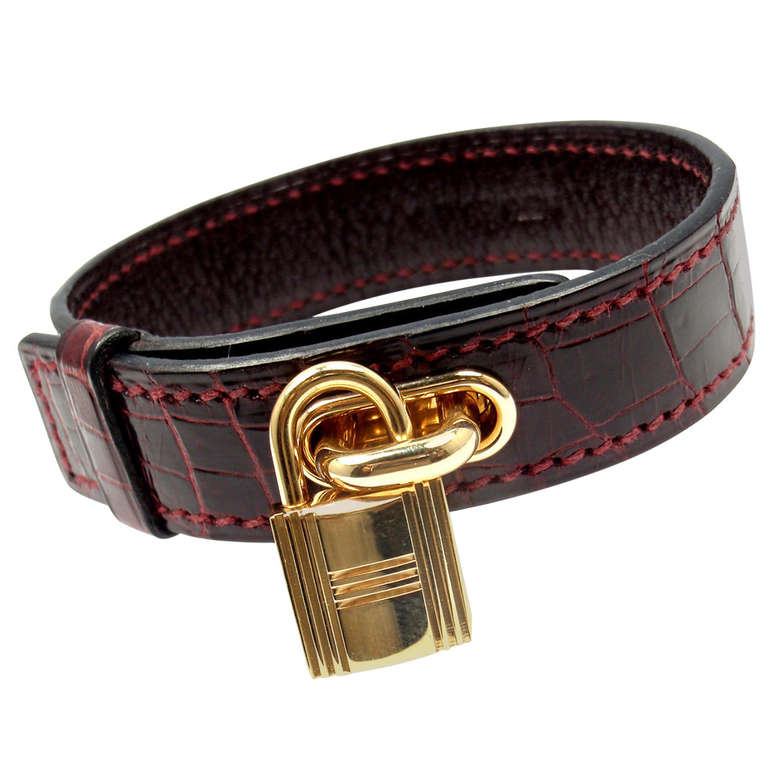 Hermes Crocodile Burgundy Yellow Gold Lock Bangle Bracelet