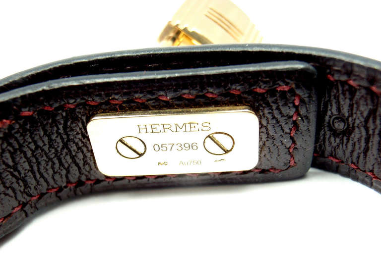 Women's Hermes Crocodile Burgundy Yellow Gold Lock Bangle Bracelet For Sale