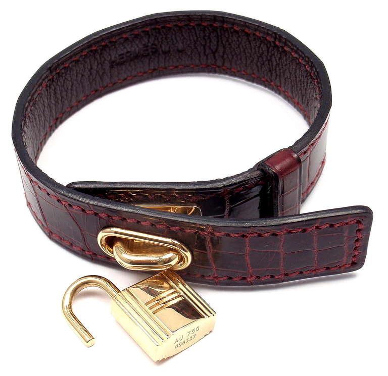 Hermes Crocodile Burgundy Yellow Gold Lock Bangle Bracelet For Sale 2