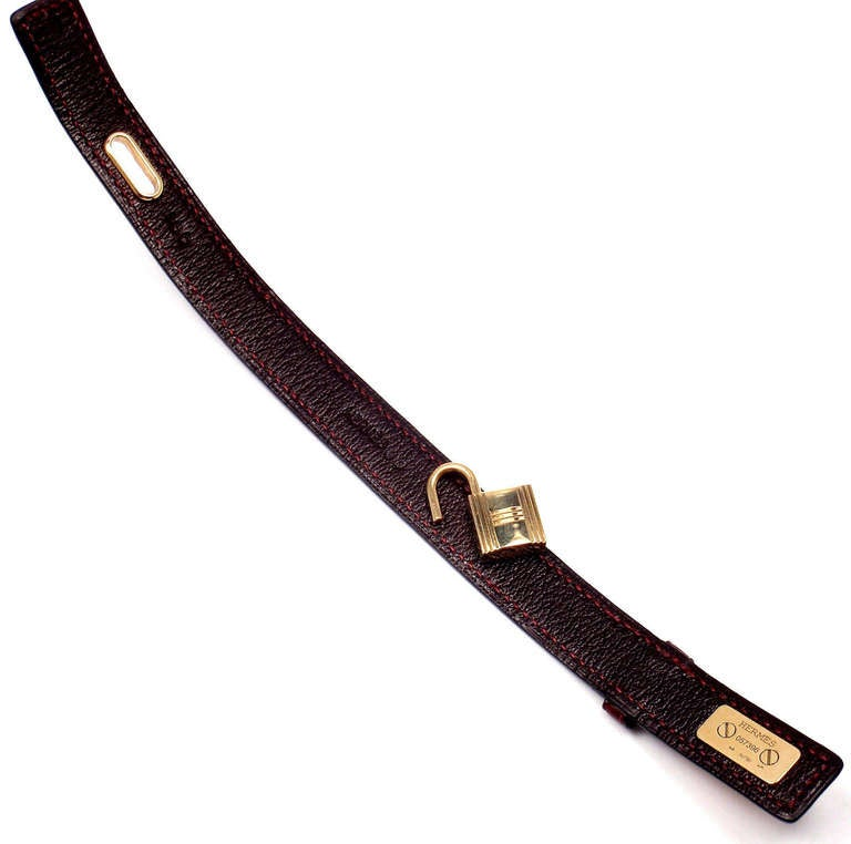 Hermes Crocodile Burgundy Yellow Gold Lock Bangle Bracelet For Sale 4