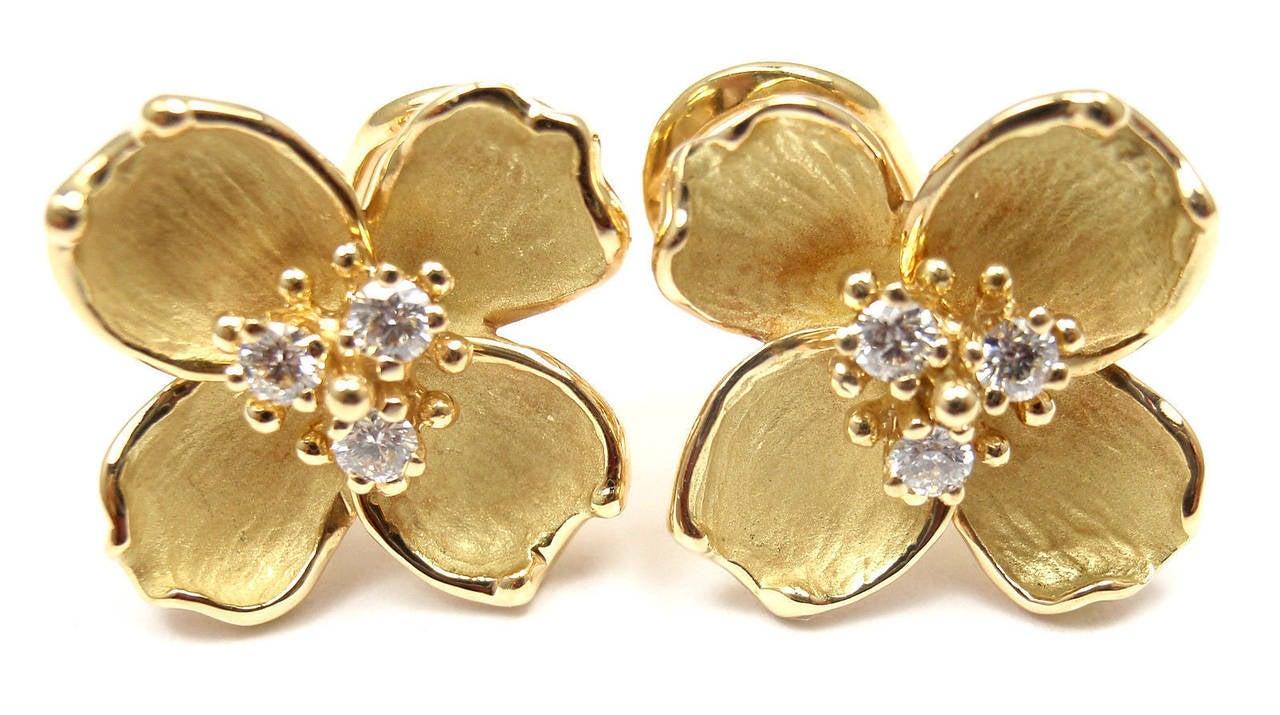 Tiffany And Co Diamond Gold Dogwood Flower Drop Earrings