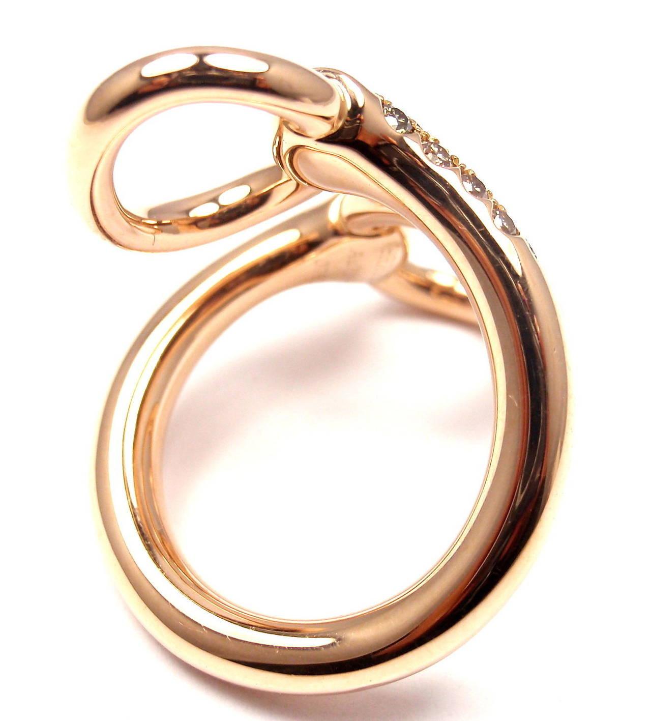 Hermes Nausicaa Croisee Diamond Large Rose Gold Ring 2