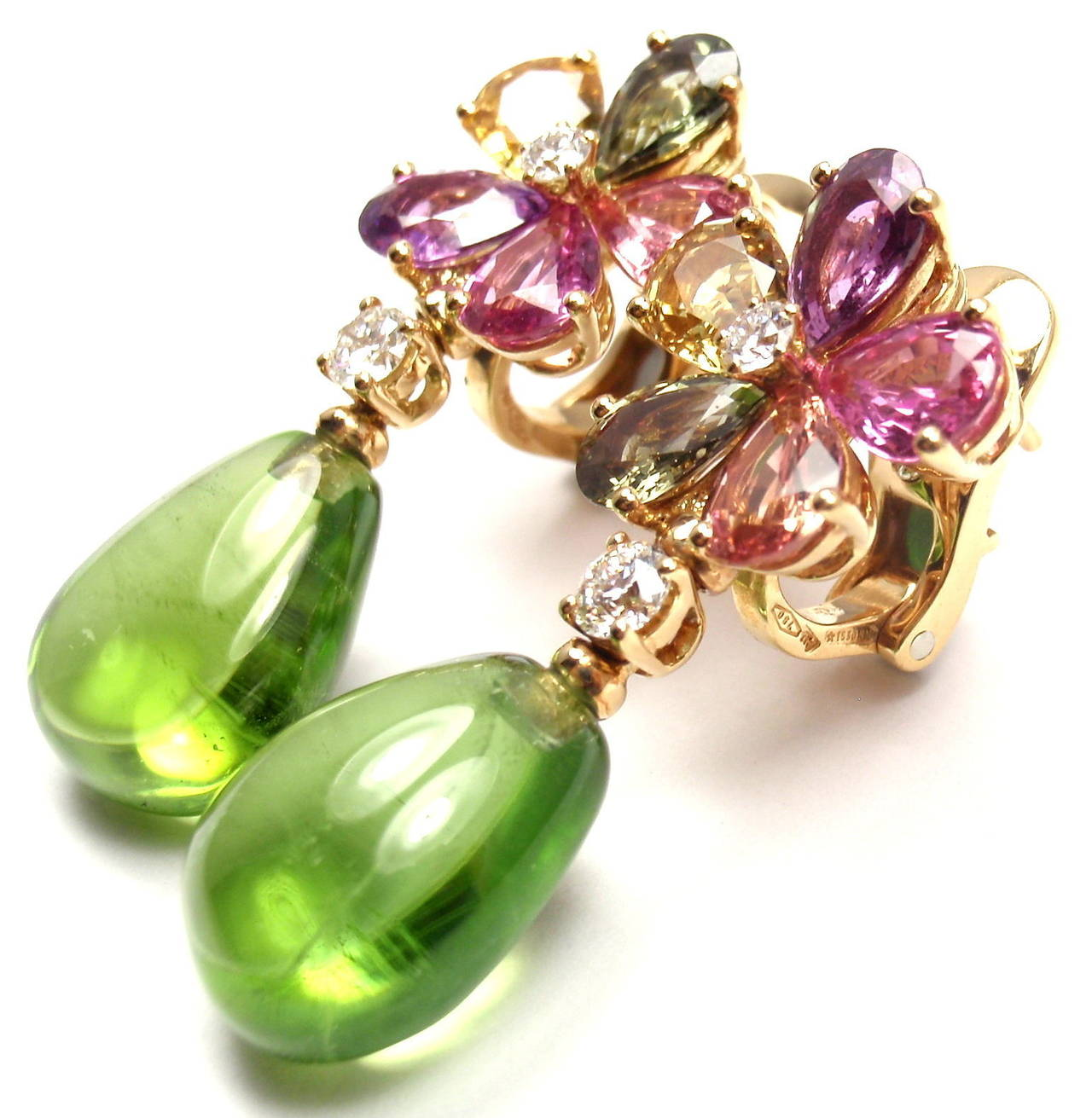 18k Yellow Gold Diamond Multicolor Sapphire And Peridot Earrings by Bulgari. 