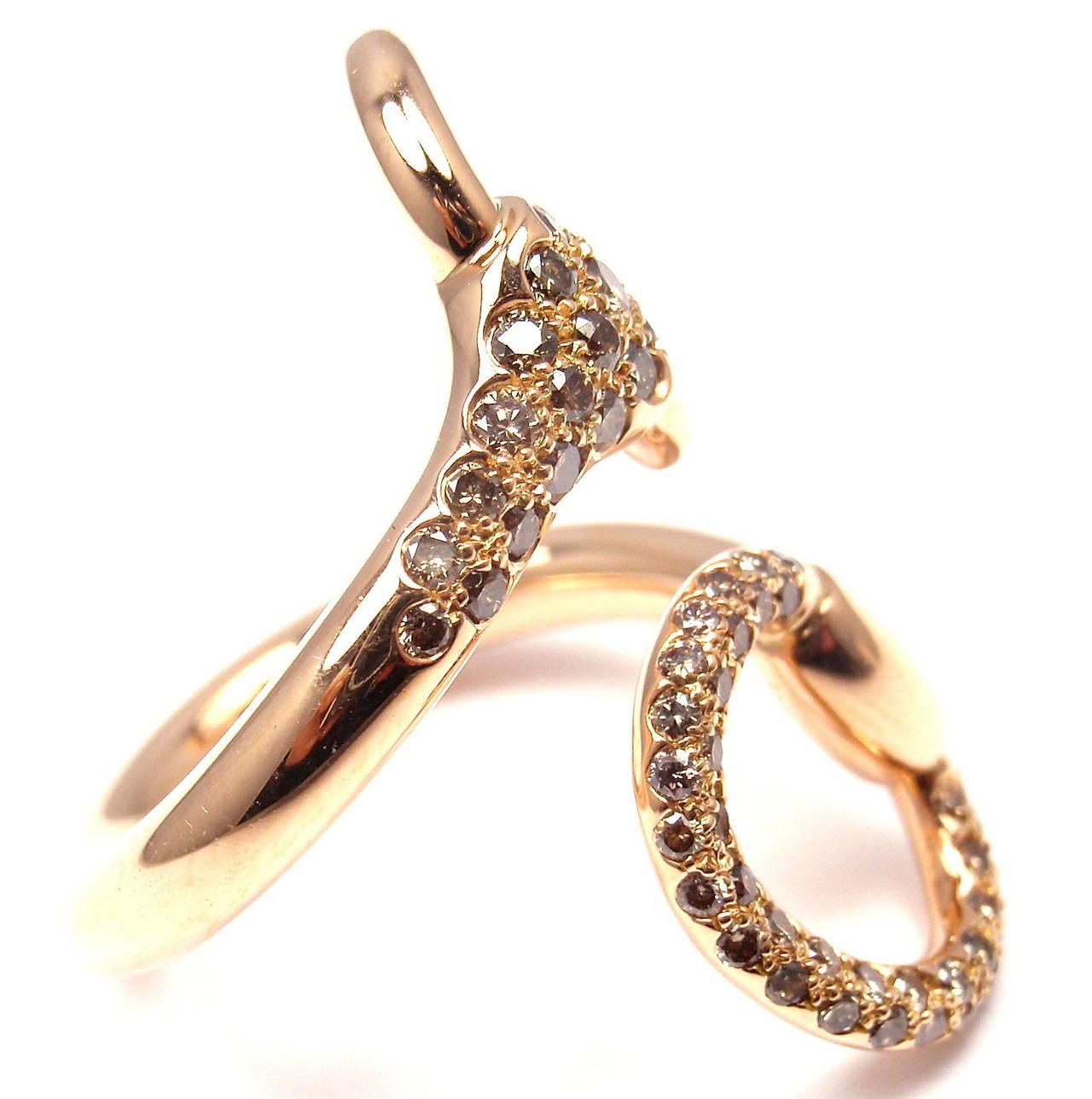 Hermes Nausicaa Croisee Diamond Large Rose Gold Ring 4