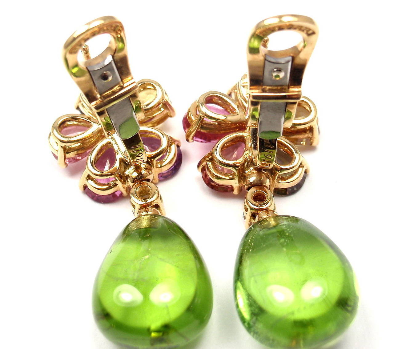 Bulgari Multicolor Sapphire Peridot Diamond Gold Flower Drop Earrings For Sale 4