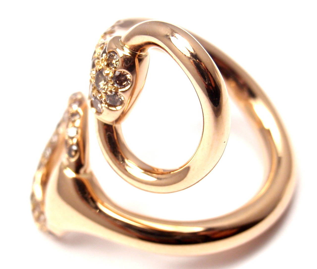 Hermes Nausicaa Croisee Diamond Large Rose Gold Ring In As new Condition For Sale In Southampton, PA
