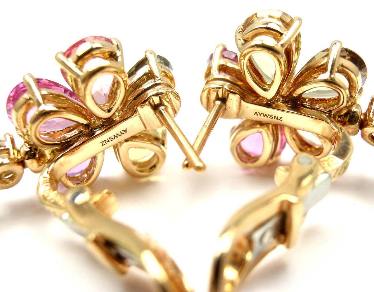 Bulgari Multicolor Sapphire Peridot Diamond Gold Flower Drop Earrings 7