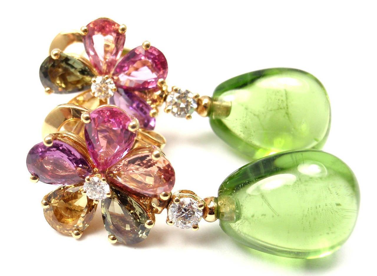 Bulgari Multicolor Sapphire Peridot Diamond Gold Flower Drop Earrings 4