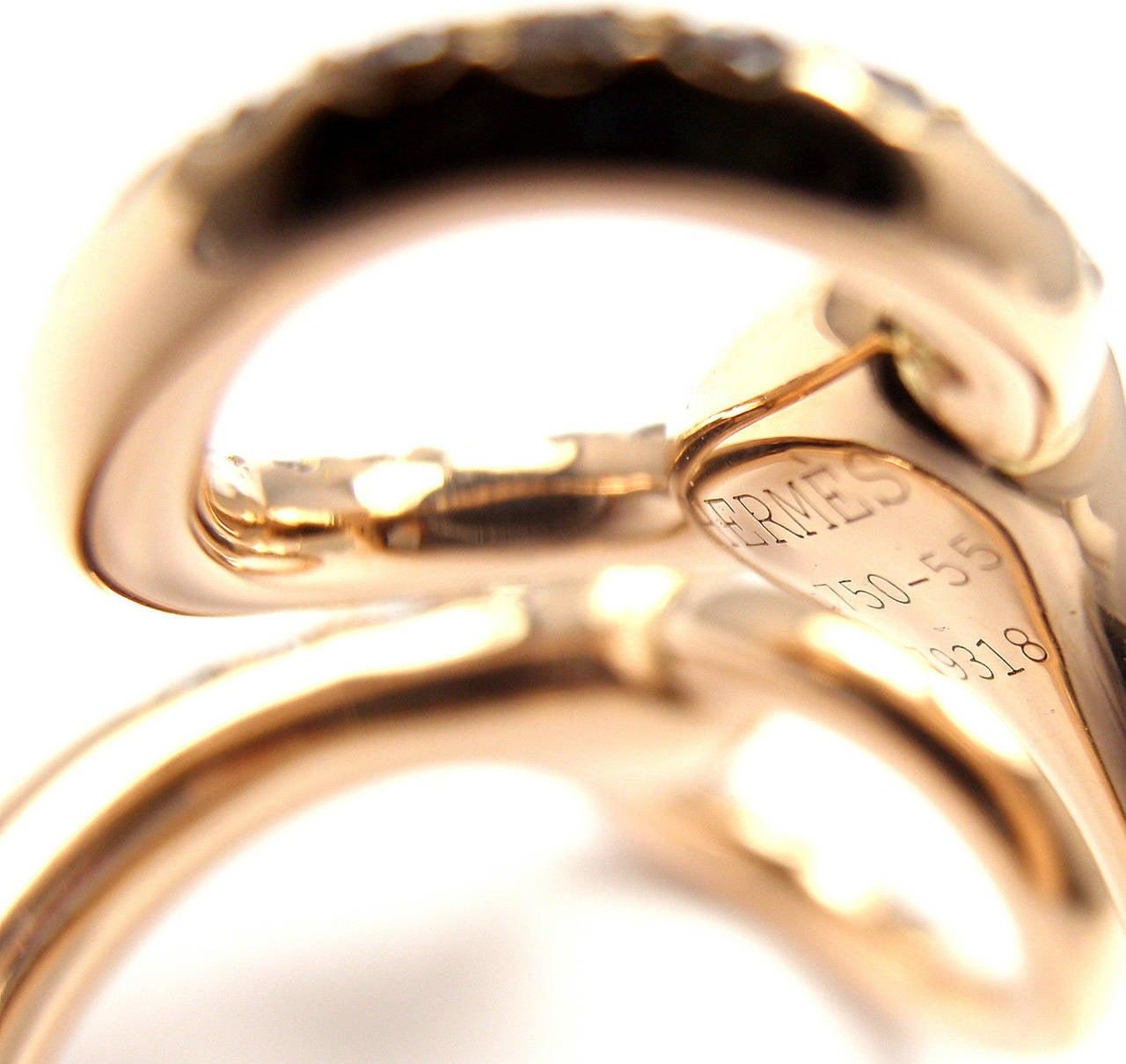 Hermes Nausicaa Croisee Diamond Large Rose Gold Ring 6