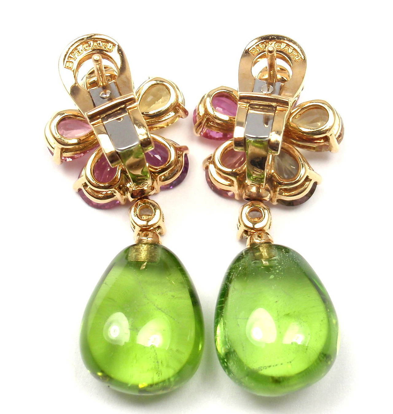 Bulgari Multicolor Sapphire Peridot Diamond Gold Flower Drop Earrings In As New Condition For Sale In Southampton, PA