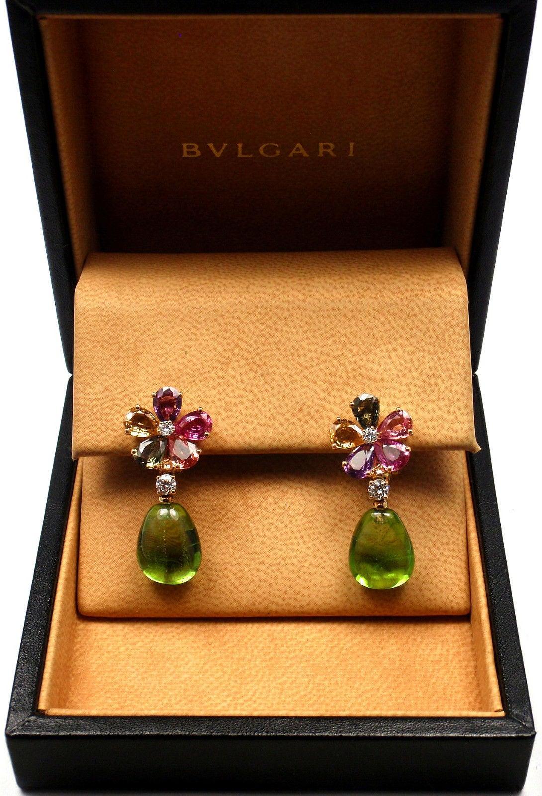 Bulgari Multicolor Sapphire Peridot Diamond Gold Flower Drop Earrings 9