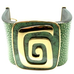 Bulgari Green Garnet Stingray Yellow Gold Cuff Bracelet