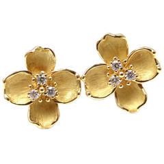 Tiffany & Co. Diamond Gold Dogwood Flower Drop Earrings