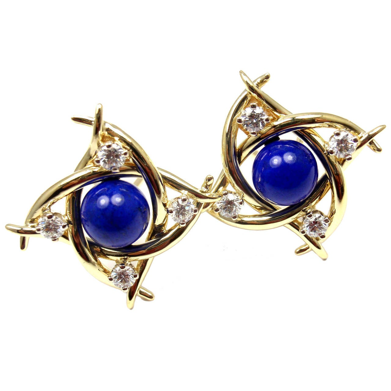 Tiffany & Co. Lapis Lazuli Diamond Gold Earrings