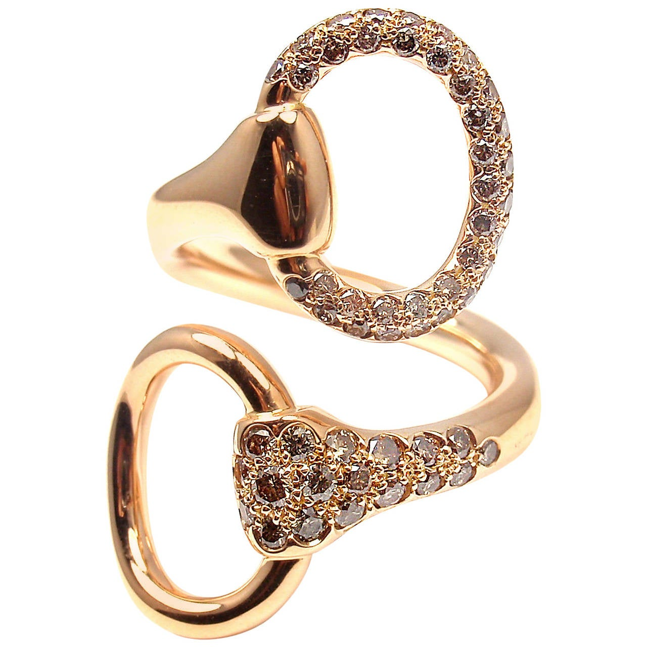 Hermes Nausicaa Croisee Diamond Large Rose Gold Ring For Sale