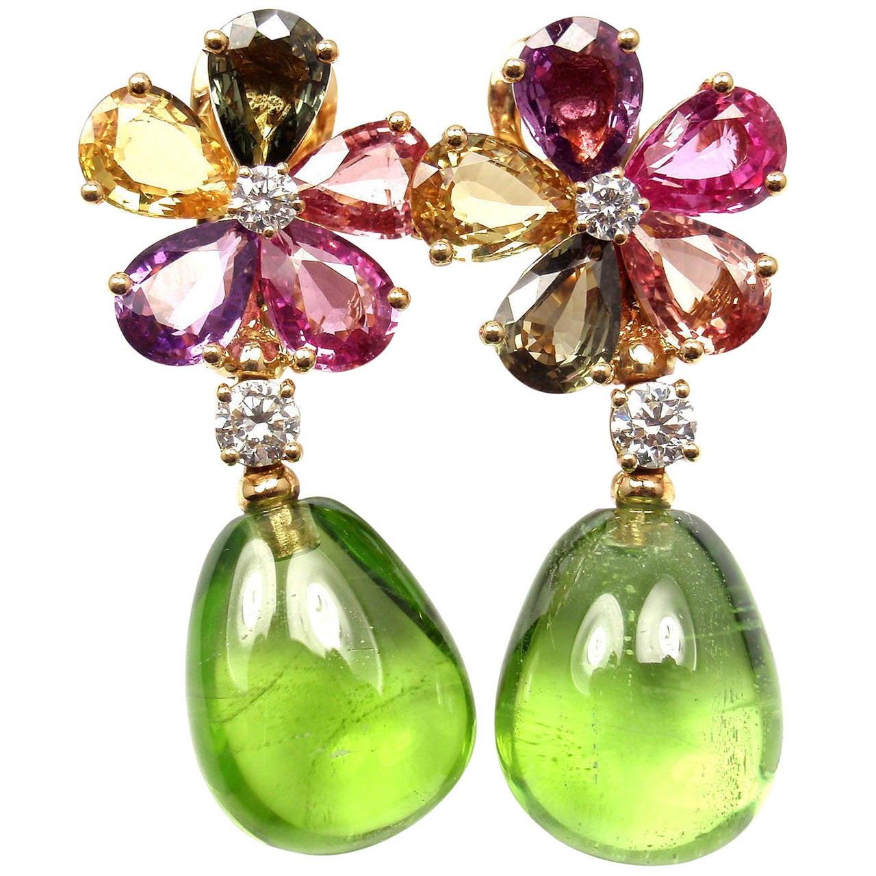 Bulgari Multicolor Sapphire Peridot Diamond Gold Flower Drop Earrings 1