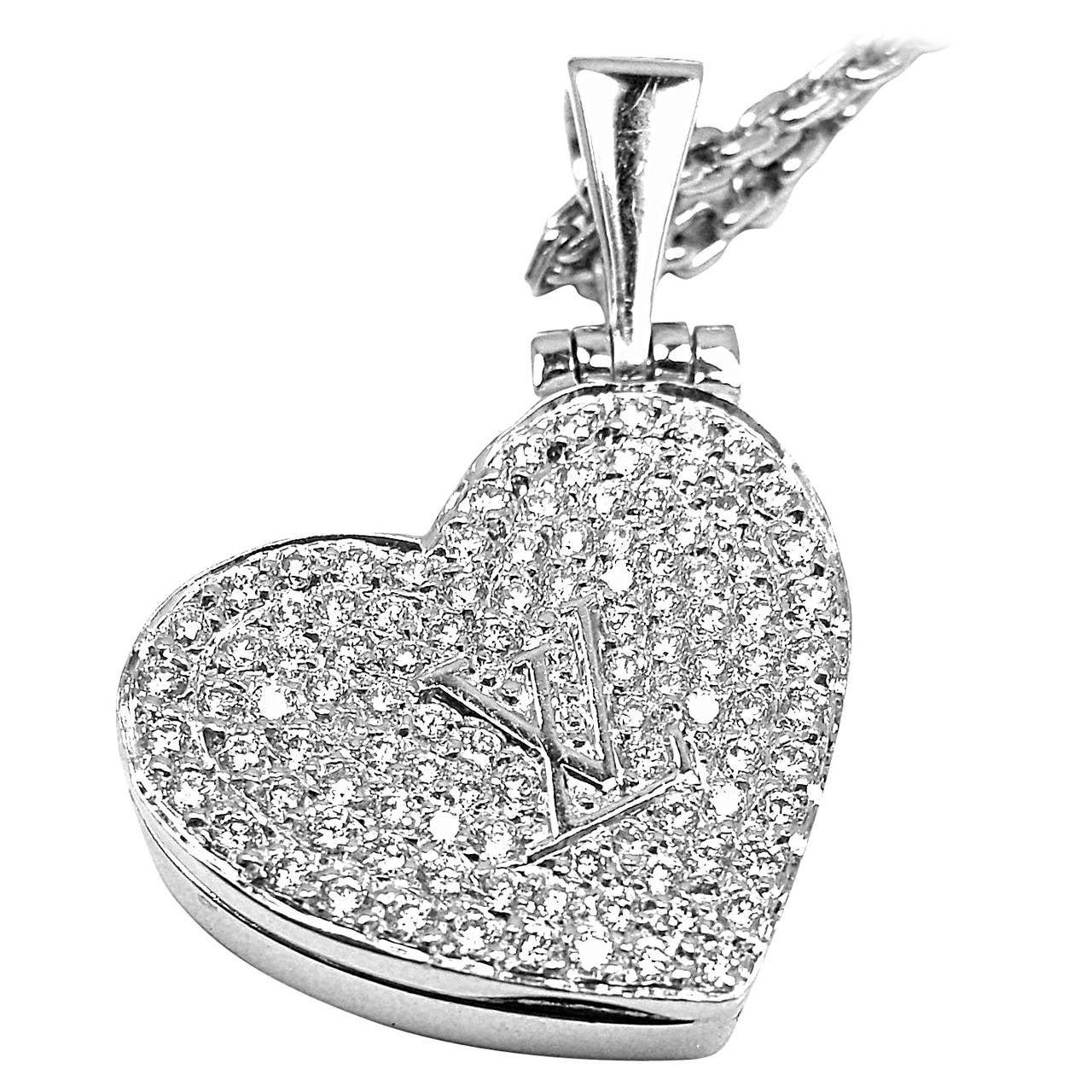 Louis vuitton diamond heart locket white gold pendant necklace at louis vuitton diamond heart locket white gold pendant necklace for sale aloadofball
