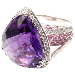 Sonia B. Bitton Amethyst Tourmaline Diamond White Gold Ring