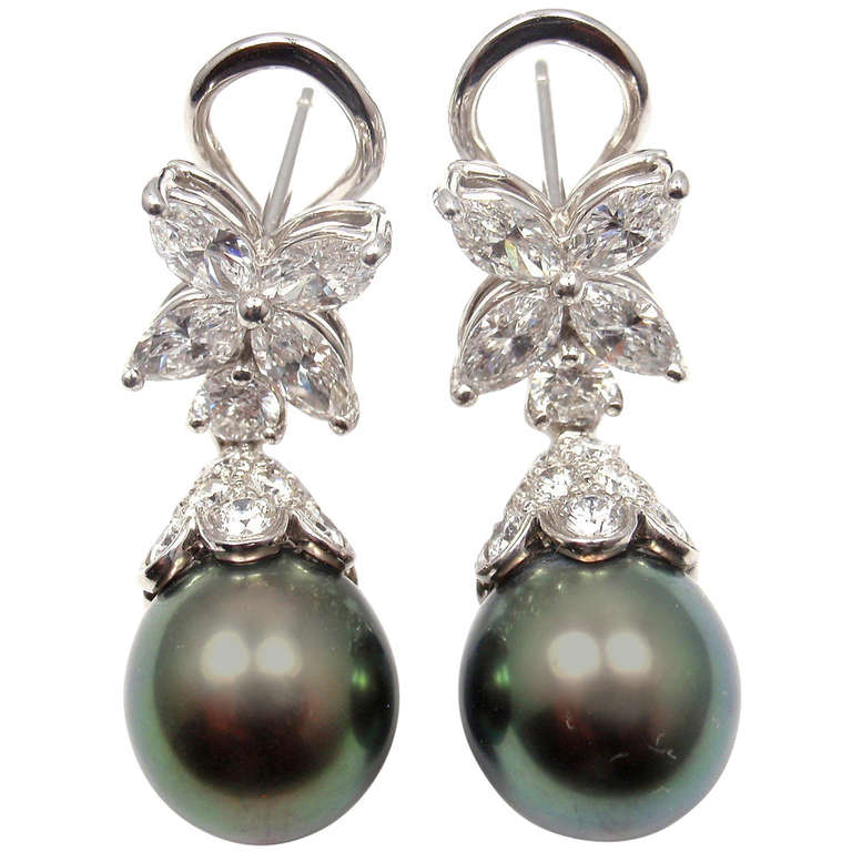 Tiffany Co Victoria Diamond And Tahitian Pearl Platinum Earrings