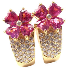 Van Cleef & Arpels Pink Sapphire Diamond Gold Flower Earrings