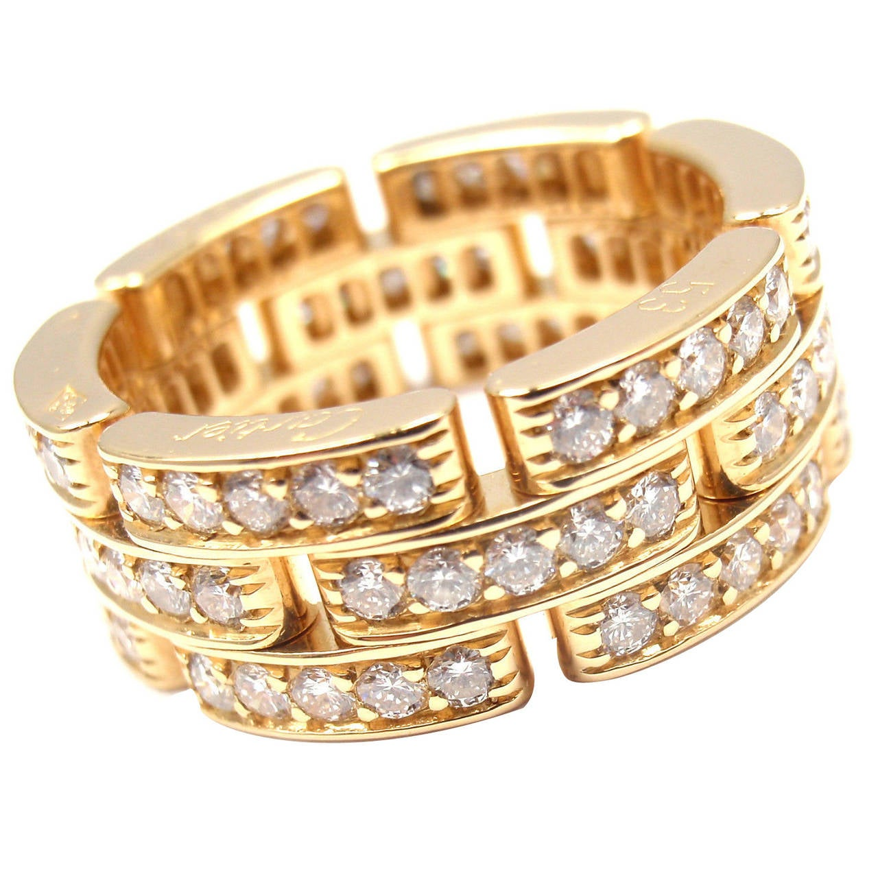 Cartier Maillon Panthere Diamond Gold Eternity Band Ring