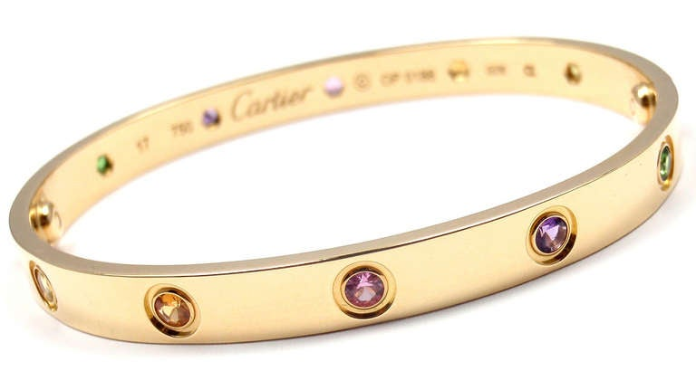 7266090a8 Cartier Color Stone Love Yellow Gold Bangle Bracelet Size 17 At 1stdibs