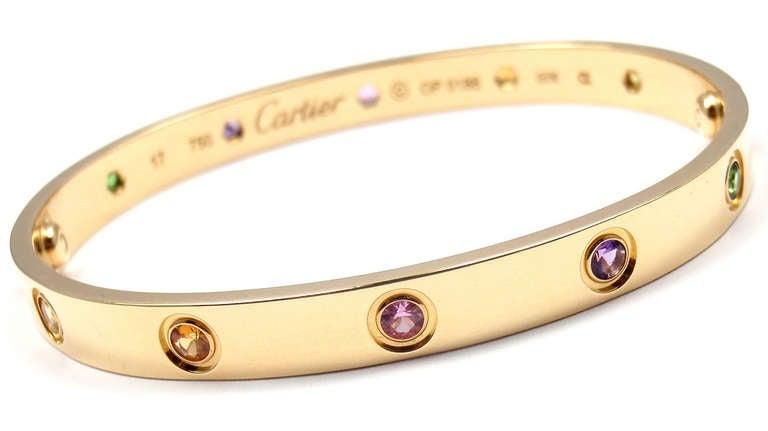1889a3d30854d Cartier Color Stone LOVE Yellow Gold Bangle Bracelet Size 17