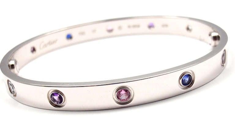 Cartier Color Stone Love White Gold Bangle Bracelet Size
