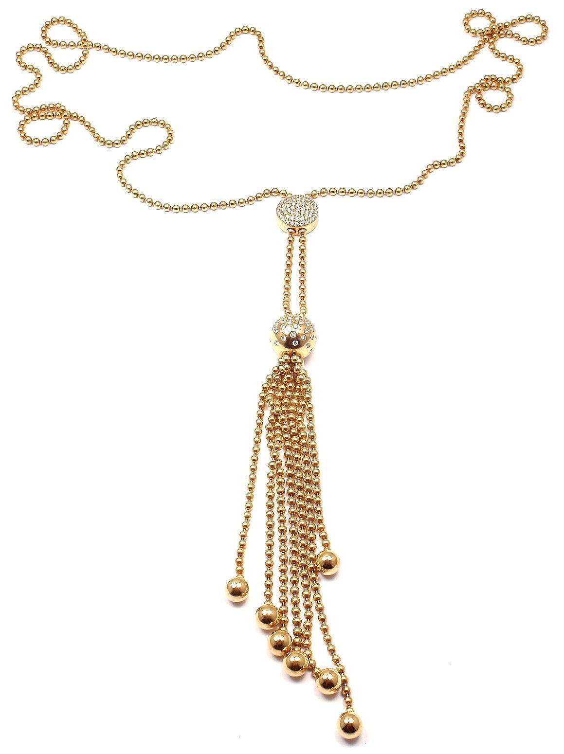 815727d56127b Cartier Draperie Diamond Adjustable Lariat Yellow Gold Necklace