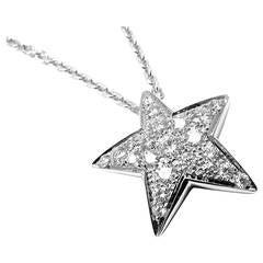 Chanel Comete Large Diamond Gold Star Pendant Necklace