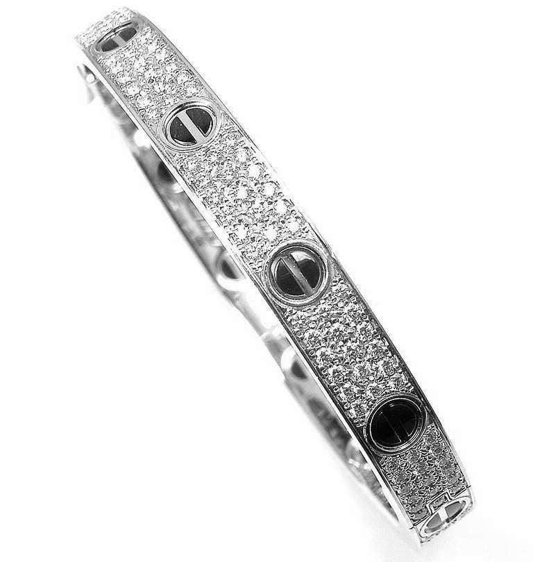 Cartier Love All Diamond and Ceramic White Gold Bangle Bracelet