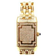Jaeger-Lecoultre Lady's Yellow Gold Diamond Reverso Wristwatch Ref 267.1.86