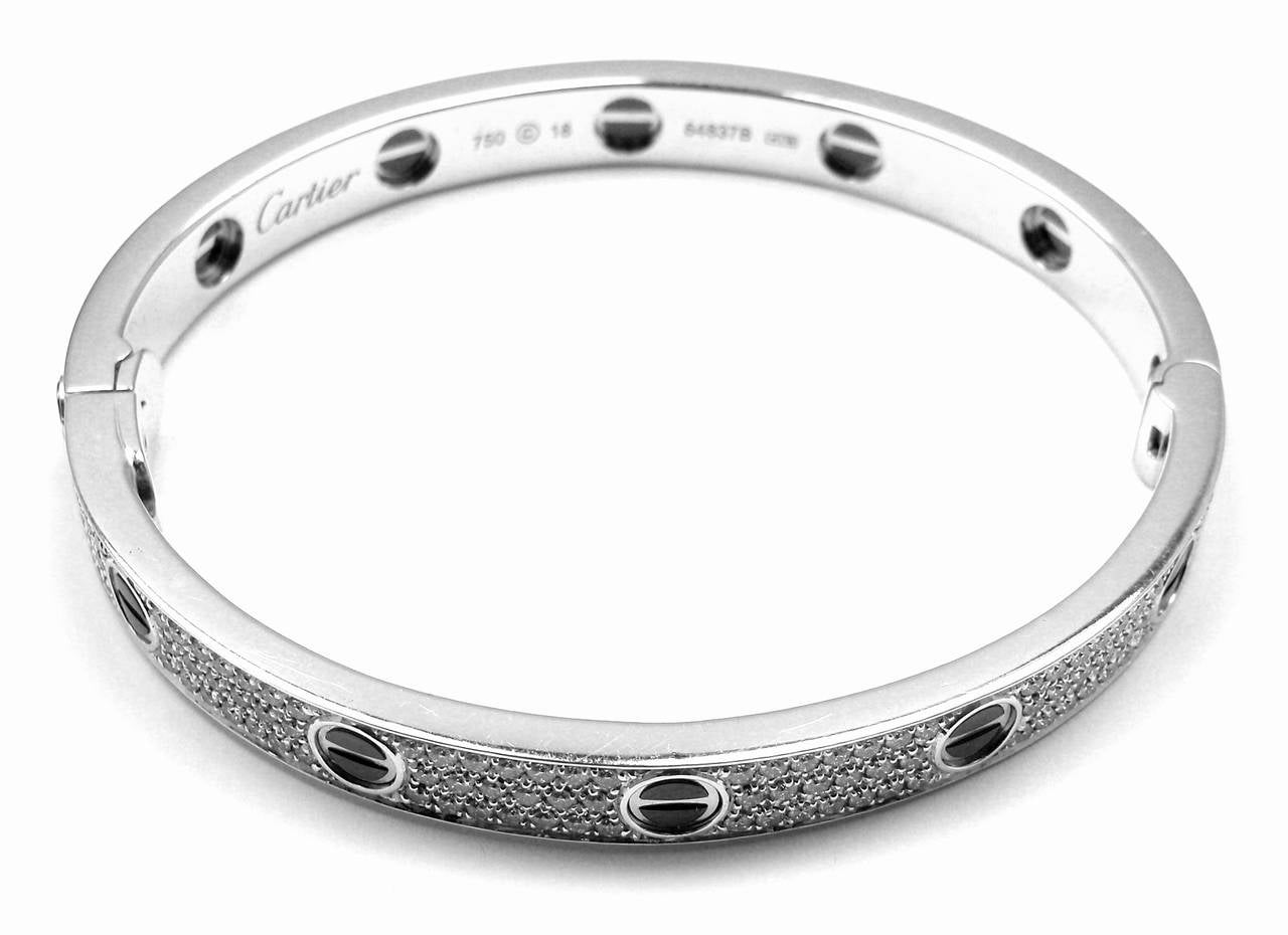 9d5c401ddf5 Cartier Love All Diamond   Ceramic White Gold Bangle Bracelet Size 18 For  Sale 1