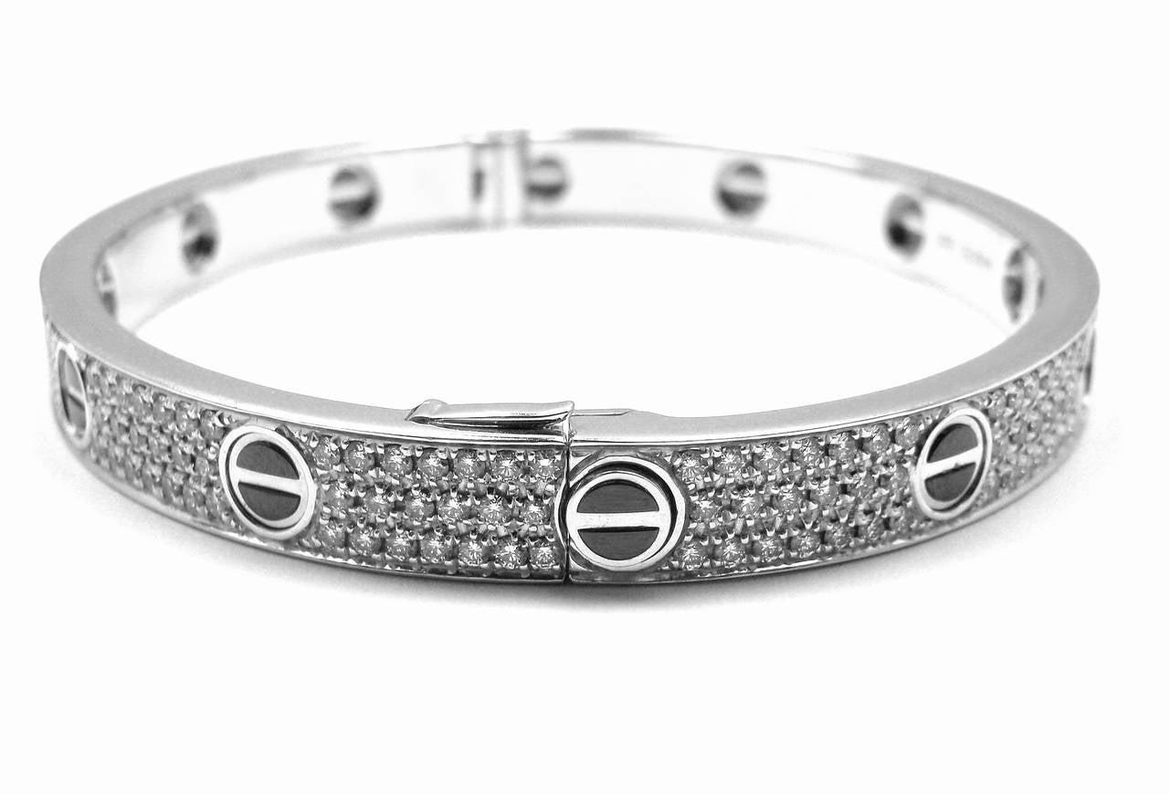 Women S Cartier Love All Diamond Ceramic White Gold Bangle Bracelet Size 18 For