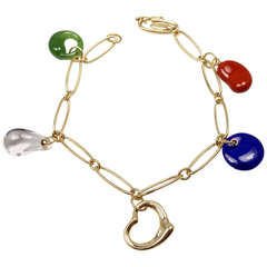 Tiffany & Co Elsa Peretti Carved Gemstone Yellow Gold Charm Bracelet